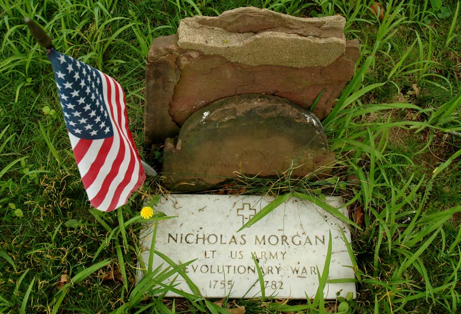 Grave of Revolutionary War Lieutenant Nicholas Morgan of the 2nd Regiment, Middlesex County Militia in the Morgan Family Cemetery in Morgan, NJ.