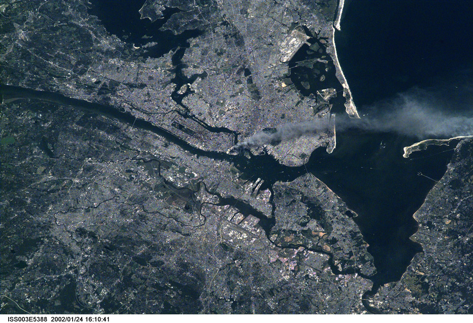 ISS003-E-5388. September 11, 2001 Image of Raritan Bay Showing the World Trade Center Plume of Smoke Following the Terrorist Attack. Image courtesy of the Image Science & Analysis Laboratory, NASA Johnson Space Center.