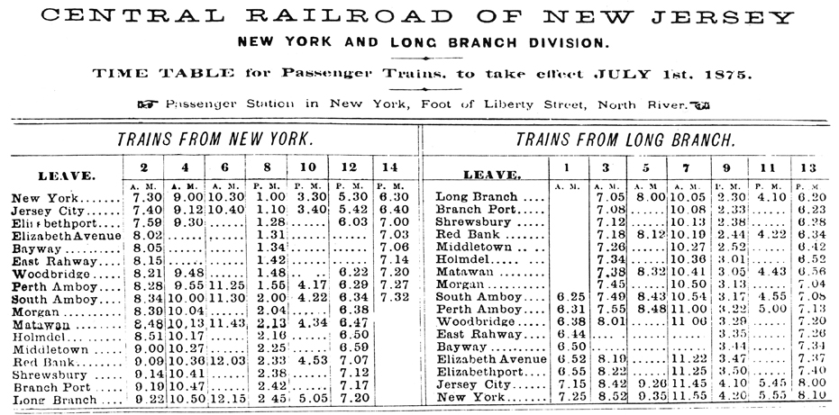First Schedule of the New York and Long Branch Railroad