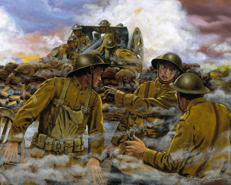 """Truman's Battery"" by Dominic D'Andrea. Captain Harry Truman in Action with Battery D in France During World War I. Art Work Courtesy of the National Guard Heritage Series Web Site NG.mil."
