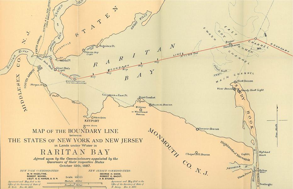 Map showing the NY / NY State Boundary across Raritan Bay