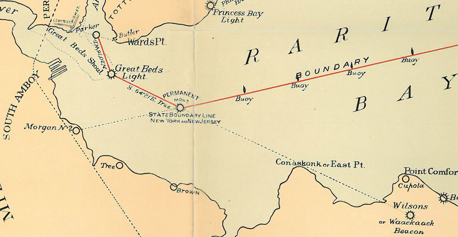 Map showing the location of the Monument and Buoys on Raritan Bay