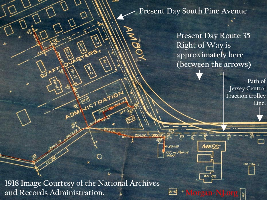 Where the South Amboy and Keyport Turnpike Curved in the pre-Route 35 Days in Morgan, NJ.  From the 1918 Map Showing General Location of the Lines of the New York Telephone Co. Inside the Plant of the T. A. Gillespie Plant.  Image Courtesy of the National Archives and Records Administration.