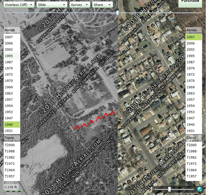 HistoricAerials.com Image of South Pine Avenue & Wessco Street Area in 1940 vs. 2007.  Image Courtesy of HistoricAerials.com.