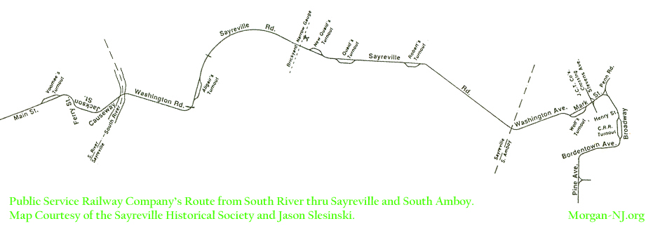 Map of the Public Service Railway in Sayreville, South Amboy & Morgan.