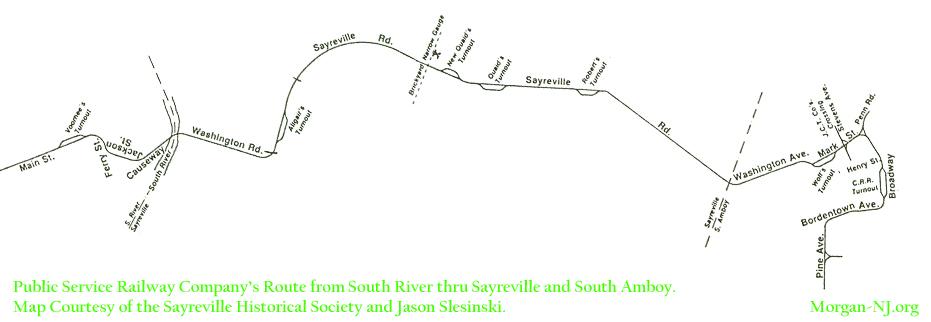 Map of the Public Service Railway in Sayreville, South Amboy & Morgan.