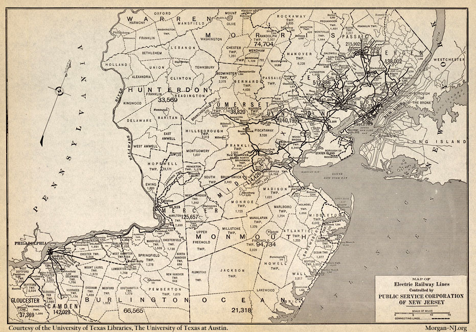 1913 Map of the New Jersey Public Service Railway
