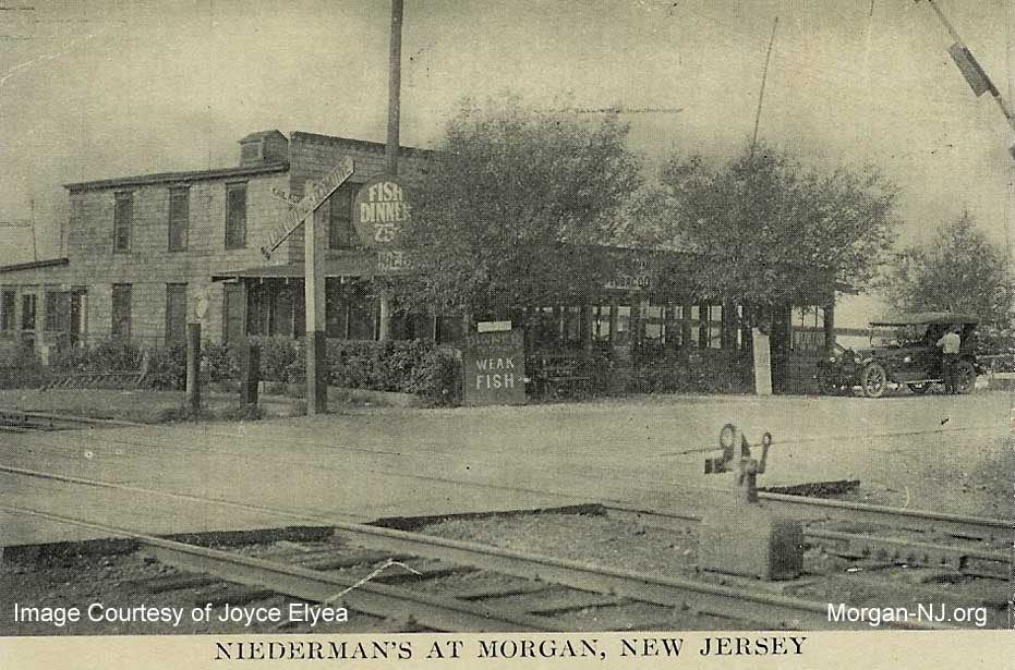 Niederman's Restaurant on the North Side of the New York and Long Branch Railroad Tracks at Morgan Station Looking Northeast at Present Day Old Spye Road, Circa 1919. Image Courtesy of Joyce Elyea.