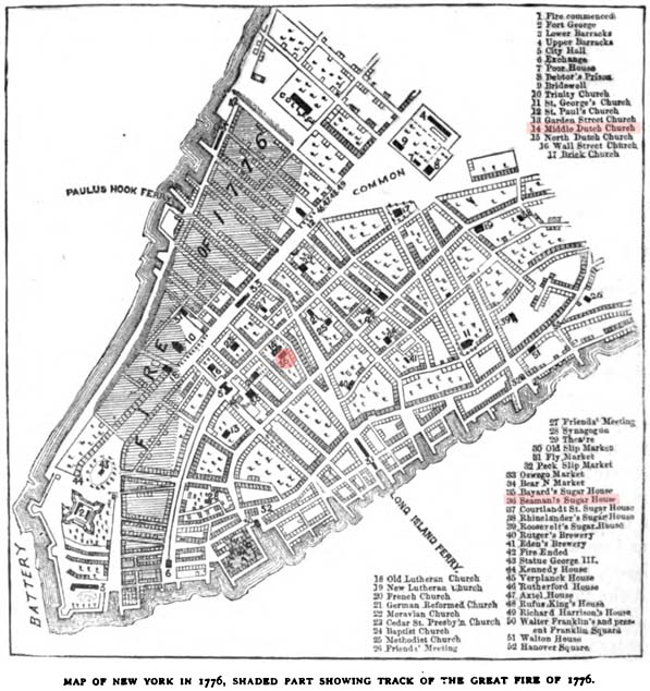 1776 Map of Lower Manhattan Showing Location of Livingston Sugar House & Fire.