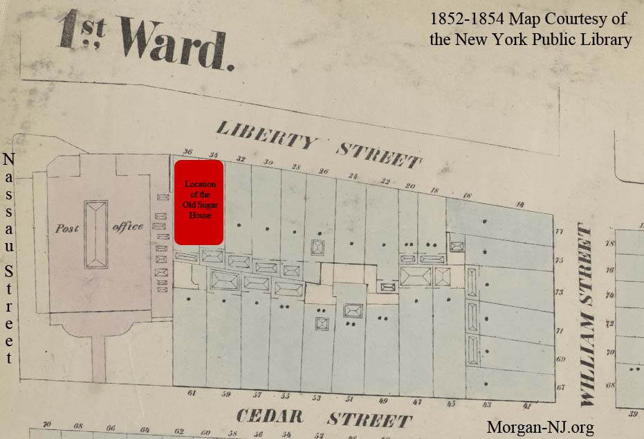 """Map of Location of Livingston's """"Old Sugar House"""", Circa 1852 - 1854."""