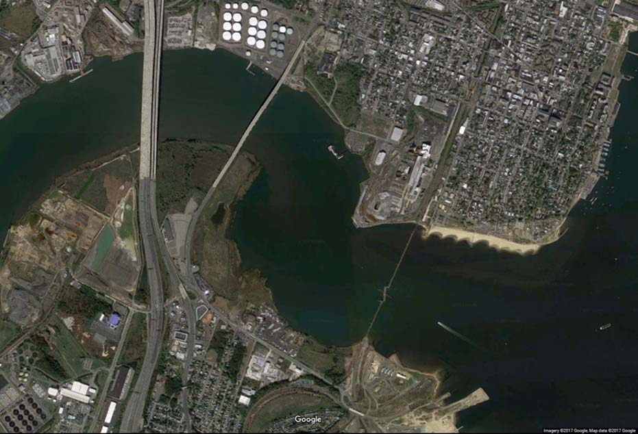 The Five Bridges at the Mouth of the Raritan River