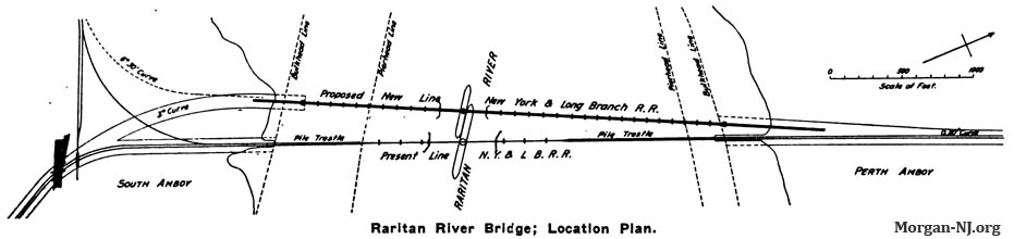 1908 Map Showing the Locations of the Original 1876 Bridge and Current 1908 Bridge