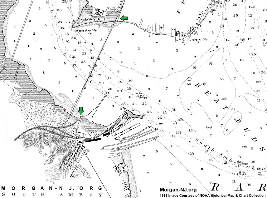 1911 NOAA Map Showing Locations of 1875 & 1908 Railroad Draw Bridges