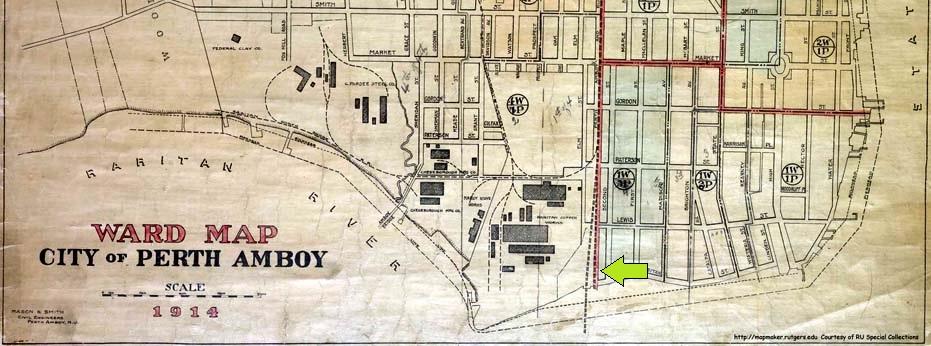 1914 Map of Southern Perth Amboy