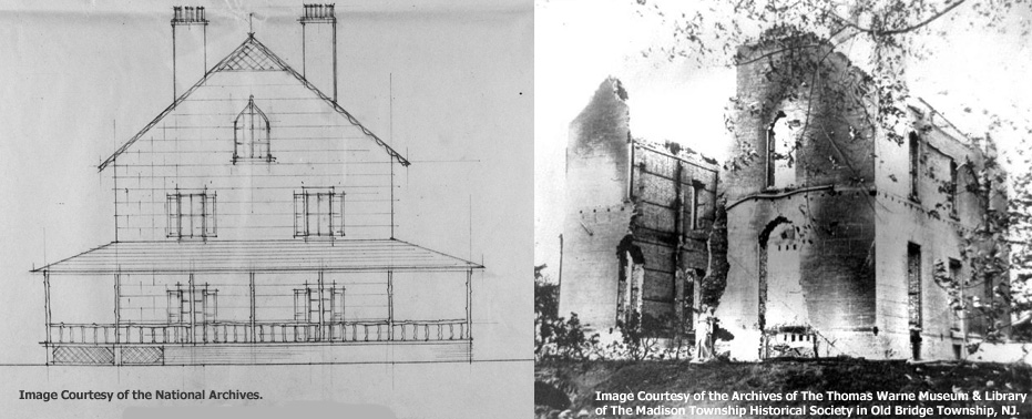 Drawing of Morgan's Bayview Manor Compared to a Photo of the Ruins of Bayview Manor Destroyed by the T. A. Gillespie Loading Company Catastrophe of October 1918. Images Courtesy of the National Archives and the Archives of The Thomas Warne Museum & Library of The Madison Township Historical Society in Old Bridge Township, NJ.