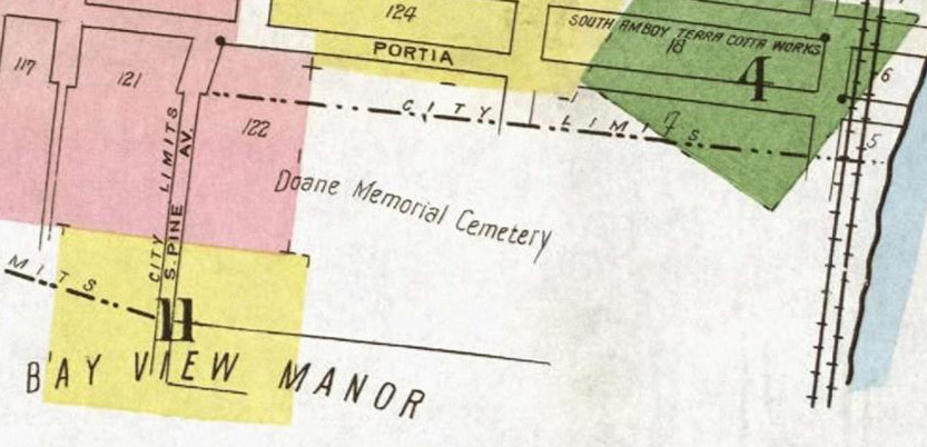 1919 Map Showing Location of Doane Memorial Cemetery (Present Day Christ Church Cemetery) and Bay View Manor Estate. Image Courtesy of Princeton Library.