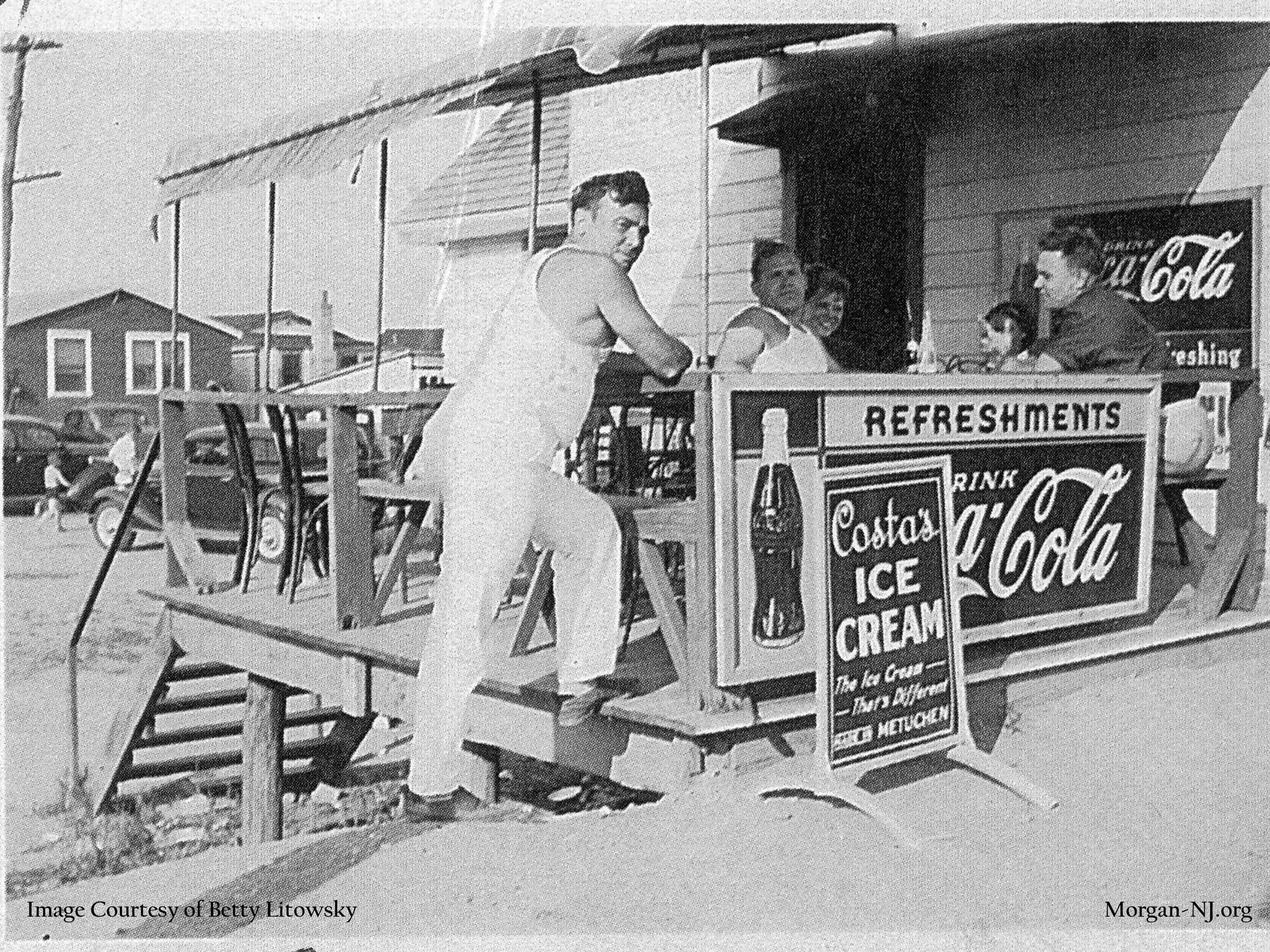 Don Macrae's Hot Dog Shanty on Morgan Beach circa 1937. Don Macrae, Sr. on the left and Don Macrae, Jr. on the right. Image courtesy of Betty Macrae Litowsky.